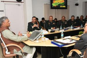 Chief minister Trivendra Singh Rawat presides over a civil-military liaison conference at the state secretariat in Dehradun on Tuesday.