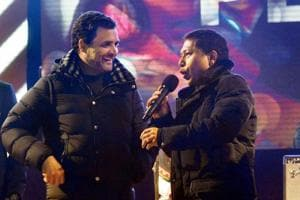 "Congress President Rahul Gandhi with Chief Minister of Meghlaya Mukul Sangma at a musical evening ""celebration of Peace "" ahead of State Assembly election in Shillong on Tuesday."