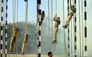 Army jawans undergoing training.