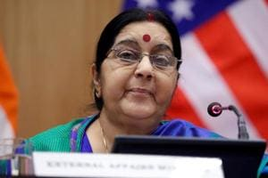 File photo of external affairs minister Sushma Swaraj during an interaction with the media  in New Delhi.
