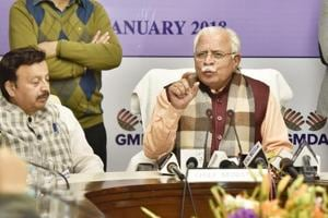 Haryana CM Manohar Lal Khattar addresses a press conference in Gurgaon following the first meeting of The GurugramMetropolitanDevelopment Authority onWednesday.