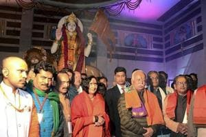RSS chief Mohan Bhagwat at the unveiling of a statue of