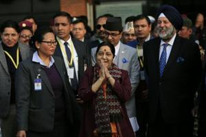 External affairs minister Sushma Swaraj shortly after her arrival in Kathmandu on a two-day visit on February 1, 2018.