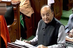 Union finance minister Arun Jaitley presents the Union Budget at Parliament, in New Delhi.