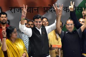 Setback to Raje as Congress trounces BJP in Rajasthan bypolls,...