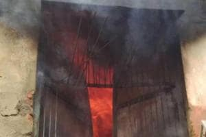Fire control operation on at Delhi shoe factory 7 hrs after break out,...