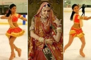 The video of Bhandari performing ghoomar on the ice rink in a red costume and ice skates is getting a lot of love on social media