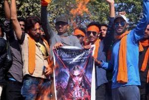 File photo of Karni Sena members protest against the release of film