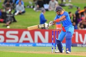 Shubman Gill plays a shot during the Under-19 Cricket World Cup final match between India and Australia at Bay Oval in Mount Maunganui on February 3, 2018. India beat Australia by eight wickets to win the World Cup for the fourth time.