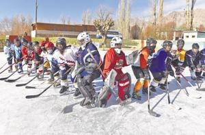 Members of the women's ice hockey team of India play at Karzu Ring in Leh. The players are aged between 15-30, and are being trained by four-time Olympic gold medallist from Canada, Hayley Wickenheiser.