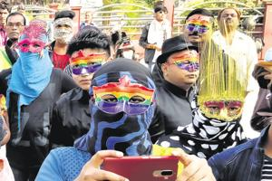 Nagpur's is called the Orange City Pride March. Marchers wear kurtas, pajamas, and masks, the masks because they say it's still nto easy for the individual to come out of the closet, even though the community has.