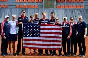 United States Davis Cup team poses for a group picture after winning the World Group first round tie against Serbia at the Cair sports hall in Nis on Saturday.