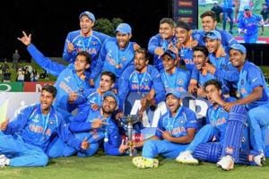 Mount Maunganui: Indian team players pose for photographs with the trophy as they celebrate after winning the ICC Under-19 Cricket World Cup finals in Mount Maunganui on Saturday. India beat Australia by eight wickets to win record fourth U-19 World Cup.