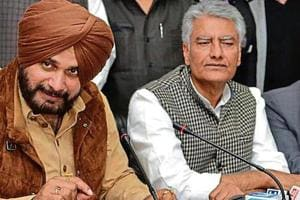 Local bodies minister Navjot Singh Sindhu along with state Congress president Sunil Jakhar at a press conference in Jalandhar on Sunday.