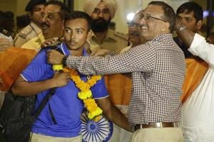 Indian U-19 Cricket World Cup team returns to heroes welcome