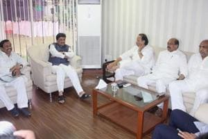 Senior Congress and NCP leaders meet at Radhakrishna Vikhe Patil's home on Tuesday.