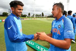 Pacers like Kamlesh Nagarkoti (L) played a key part in India's ICC U19 Cricket World Cup success, but coach Paras Mhambrey said the bowlers must play plenty of first-class cricket before they are ready to step up to the next level.