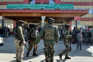 Security personnel comb Srinagar after a terrorist escaped from police custody during an attack on the city's Shri Maharaja Hari Singh Hospital Hospital.