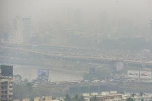 The haze and cloud cover have affected visibility across Mumbai.