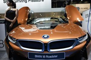BMW i8 Roadster on display at the Auto Expo.