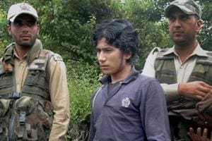 LeT militant Abu Hanzalla alias Naveed Jhatt when he was arrested from a hideout in Kulgam.