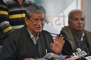 Former chief minister Harish Rawat (left) accused BJP of fanning communal tensions in the name of cow protection.