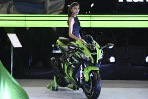 The Kawasaki Ninja H2SX at the company's stall at the auto expo.
