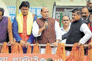 Home minister Rajnath Singh addresses a gathering during a rally in Agartala. The BJP has unleashed a campaign blitzkrieg across the Bengali and tribal belt ahead of polls.
