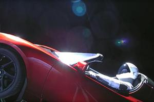 Elon Musk's space sports car on Falcon Heavy now flying toward...