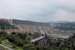 A view of the Sardar Sarovar Dam that was dedicated to the nation by Prime Minister Narendra Mod at Kevadiya in Narmada district.