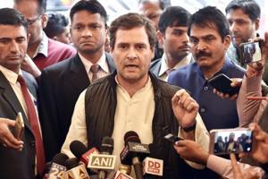 Congress President and Lok Sabha MP Rahul Gandhi addresses media personnel, New Delhi, February 7, 2018