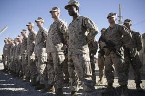US Marines at Task Force Southwest military field in Shorab military camp of Helmand province, Afghanistan.