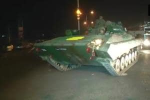 Armoured vehicles deployed at Sunjuwan army camp in Jammu on Saturday.
