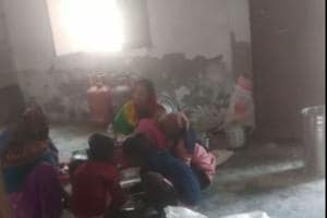 The video grab of the incident at a primary school in Vikas Nagar, Loni.