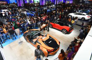 The BMW pavilion at the Auto Expo 2018 was the cynosure of all eyes on Saturday with a massive crowd thronging the area to catch a  glimpse of the gorgeous machines.
