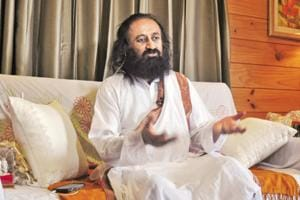 Indian Spiritual leader and founder of The Art of Living Foundation Sri Sri Ravi Shankar during an in formal interaction with media persons on the eve of world yoga day at Dharamsala.