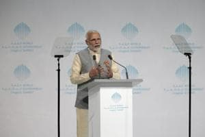 Prime Minister Narendra Modi speaks during the World Government Summit in Dubai on Sunday.