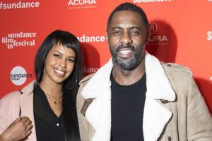 Idris Elba proposes marriage to Sabrina Dhowre on stage before the...