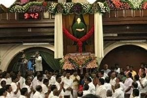 The seven feet tall portrait shows Jayalithaa in her trademark green sari, staring down at the Opposition benches.