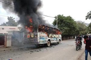 Dalit student's murder: Protesters hold demonstration, set bus afire...