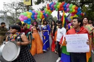Members and supporters of the Lesbian, Gay, Bisexual, Transgender (LGBT) community during Awadh Queer Pride Walk in Lucknow on Sunday.