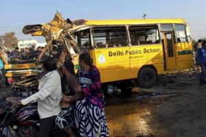 A school bus was left wrecked after an accident on the Indore bypass on January 5, 2018. Five students and the bus driver were killed after the vehicle collided with a truck.