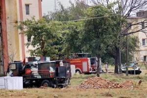 Security and fire tenders reach the army family quarters at Sunjuwan Military Station during the search and sanitisation operations following a terrorist attack, in Jammu on Monday.