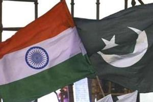 India Pakistan flags seen during the 2nd day of world culture Festival at Yamuna River Bank in New Delhi, India.