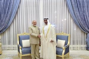 Prime Minister Narendra Modi and the Crown Prince of Abu Dhabi, deputy supreme commander of UAE armed forces, General Sheikh Mohammed Bin Zayed Al Nahyan, at Presidential Palace in Abu Dhabi, United Arab Emirates, on Saturday.