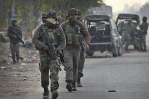Army soldiers arrive to take position at the Sunjwan Army camp in Jammu after terrorists launched an attack on February 10, 2018.