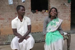 Manohar Naik and his wife Anita Naik in their village in East Singhbhum district after they were united