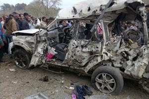 Mangle remains of the SUV of Congress district President Shankar Yadav who was killed on February 13
