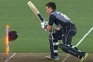 New Zealand batsman Mark Chapman gets dismissed in bizarre fashion
