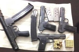 A huge cache of weapons and cartridges was recovered from prime accused Manish Bhardwaj's house upon his arrest in February 2017.